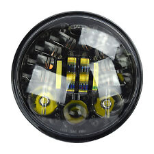 "Black 5.75 5 3/4"" Motorcycle Projector LED Light Bulb Headlight for Harley Blk"