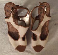 Ann Taylor LOFT Isabelle Canvas T Strap H Pure Ivory Cork Pump Heels Sz 8 M ~E1