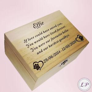 Memorial Box Urn Dog Cat Memory Ashes Urn Personalised Wooden Casket Memory Gift