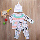 3Pcs 100% Cotton Newborn Baby Girl T shirt Top Pants Hat 3Pcs Outfit Set Clothes