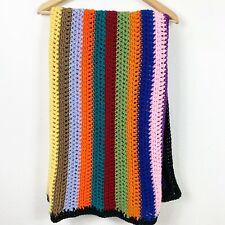 Handmade Crochet Afghan Blanket Lap Throw Striped Multicolor Rainbow 36x52