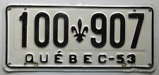Quebec 1953 License Plate HIGH QUALITY #100-907