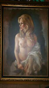 Original Leo Jansen vintage nude oil painting women