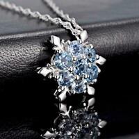 Frauen Silber Blau Gefrorene Schneeflocke Halskette Ket Strass Anhänger