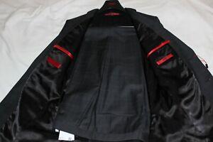 Hugo Boss Mens Marlane Black Plaid Virgin Wool Extra Slim Fit Suit $895 Size 40R