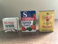 3 Different Spice Tins, Schilling, Durkee, Colmans, EX Condition, Free US Ship