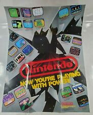 """Vintage 1988 Nintendo """"Now You're Playing With Power"""" NES Poster Insert Promo Ad"""