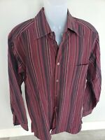 EUC ermenegildo zegna Red Wine Striped Dress Shirt 100% Cotton 16.5/17 L