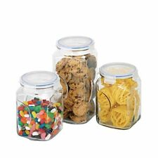 GLASSLOCK 3pc Glass Canister Set