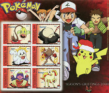 Micronesia 2000 MNH Pokemon Seasons Greetings 6v M/S Snorlax Seel Ponyta Stamps