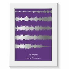 SILVER FOIL MUSIC LYRICS SOUND WAVES GIFT PRINT ANY SONG any colour