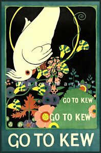 Go To The Kew 1924 Natural History Museum London Vintage Poster Print Retro Art