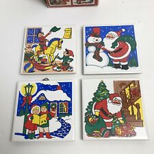 Vintage 1980s Christmas Tile Trivet Set Holiday Santa