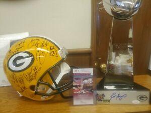 Super Bowl 31 Packers team autographed helmet/Favre trophy