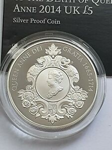 Royal Mint - 2014 Death of Queen Anne - Silver Proof Five Pound £5 Coin