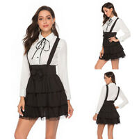 Gothic Style Women Vintage Lolita Girl Bowknot Long Sleeve Party Gown Cake Dress