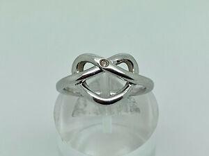 Gorgeous Modern HOT DIAMONDS Sterling Silver Diamond Heart Knot Ring Size O
