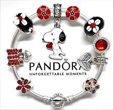 Authentic Pandora Silver Bracelet With Snoopy Love Heart European Charms...NIB