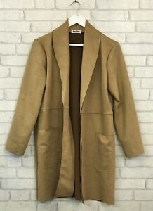 LADIES WOMENS GIRLS NEW FAUX SUEDE COAT JACKET TRENCH FITS UK 12 TO 18