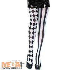 Harlequin Tights Womens Halloween Fancy Dress Clown Circus Mediieval Costume Acc