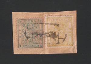 China, 1885-8 Small Dragon 1ca & 5ca Used on Piece, Newchwang cancel, Chan 15,19