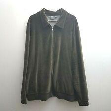 ASOS Dark Green Velour Track Jacket Size 3XL Plus Zip Front Stretch Casual Women