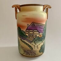 Vintage Nippon Double Handle Vase Hand Painted House & Trees AS IS