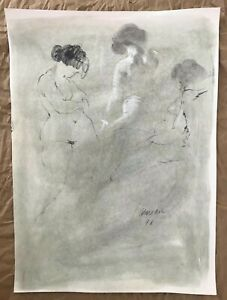 Original Harry Carmean Nude Female Figure Life Drawing Charcoal & Pastels Signed