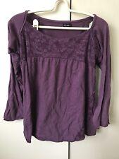 Ishka Tshirt Top SiZe S/m 8-10 Purple Floral Print Long Sleeves