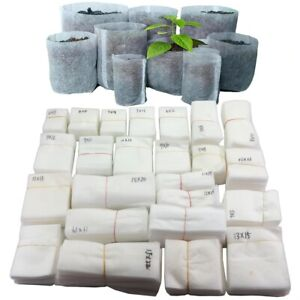 Biodegradable Nonwoven Fabric Nursery Plant Grow Bags Growing Seedling 100Pcs