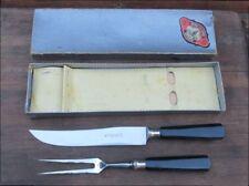 SUPERB Vintage HERDER Germany Chef's Knife/Fork Carving Knife Set w/Orig. Box