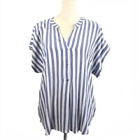 H&M White/Blue Striped Pullover Shirt Short Sleeves Size Small NWT