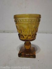 VINTAGE SMALL PRESSED GLASS AMBER GLASS WINE GOBLET