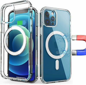 For iPhone 12 Pro Max Case Clear Wireless Charging Magnetic TPU Shockproof Cover