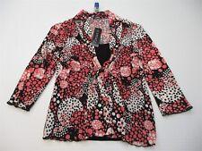 new ELEMENTZ Blouse Top Women's Size M Petite Long Sleeve Deep V-Neck Pink/Black