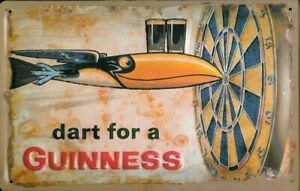 DART FOR A GUINNESS IRISH BAR PUB EMBOSSED METAL ADVERTISING SIGN 30x20cm