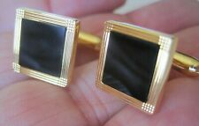 Pierre Cardin Understated Square Gold-Tone and Onyx Cufflinks