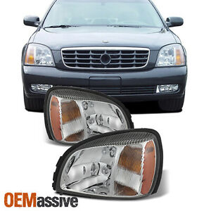 For 2000-2005 Cadillac Deville OE Style Headlights Left+Right Pair w/ Amber Side