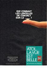 Publicité advertising  119  1984   Opticiens Atol  lentilles de contact lunettes