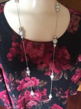 Vintage Lane Bryant Silver Tone Necklace Silver Beads Jewelry