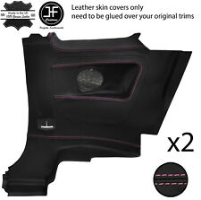 PINK STITCH 2X REAR FULL DOOR CARD TRIM LEATHER COVERS FITS FIAT 500 07-15