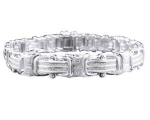 "Mens Pave 12 MM 14K White Gold Over Round Genuine Diamond Bracelet .50Ct 8.75"""