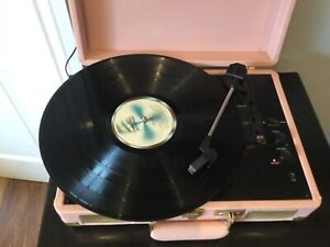 Pink Record Player Crosley 3-Speed Stereo Turntable Bluetooth Speaker Portable