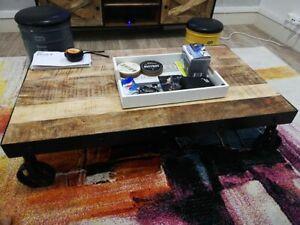 Industrial Coffee Table Rustic Cart Wheels Solid Wood Living Room Furniture New