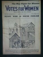 SUFFRAGETTE  NEWSPAPER , COPY OF THE OFFICIAL WOMEN'S MOVEMENT PAPER FROM 1915
