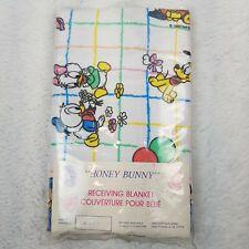 Walt Disney Honey Bunny Receiving Blanket Baby Mickey Mouse Minnie 1985 NOS