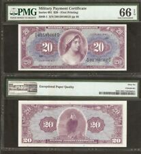 US MPC 20 Dollars P M90 1969 UNC PMG 66 Military Payment 691 United States USA