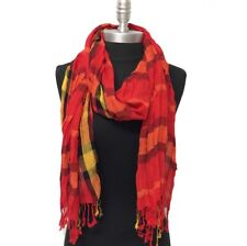 NEW Women Soft Classic Plaid Checked Crinkle Long Scarf SHAWL Stole WRAP Red