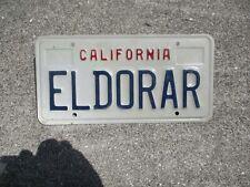 California vanity  license plate  #   ELDORAR