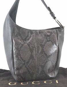 Authentic GUCCI Python Motif Shoulder Hand Bag Leather Gray C0086